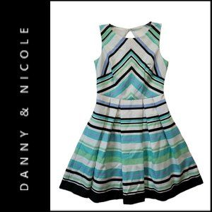 Danny & Nicole Women Open Back Fit & Flare Dress 8